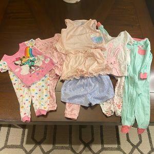 Lot of six Infant Girl Pajamas